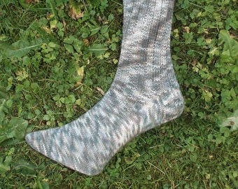 Hand knitted socks, green / brown/beige