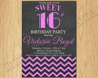 Sweet 16th Birthday Invitation Sixteen Black Pale Purple Glitter Birthday Party Invite Teen Surprise Birthday Printable  F16-005pp