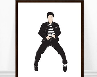 Elvis Presley Art Print, Jailhouse Rock Print, Elvis Portrait Art, Elvis Illustration, Elvis Poster, Elvis Art, Jailhouse Rock Elvis