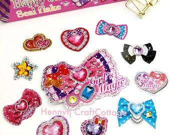 71 pcs Glitter Flake Sticker Sacks. Kawaii Bow Stickers. Filofax KIKKI.K Erin Condren Life Planner Journal Album decorations scrapbooking
