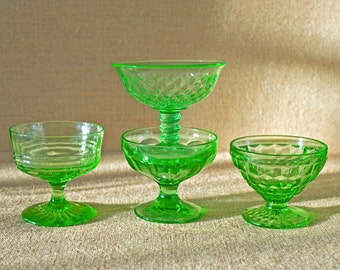 Vintage Green Glass Sherbet Glasses - Set of Four