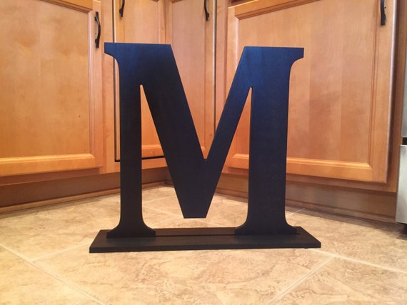 Large wood monogram letter m finished painted mounted free for Standing wood letters to paint