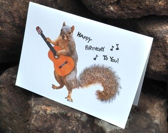 Squirrel Playing Guitar Happy Birthday Printable Birthday Card