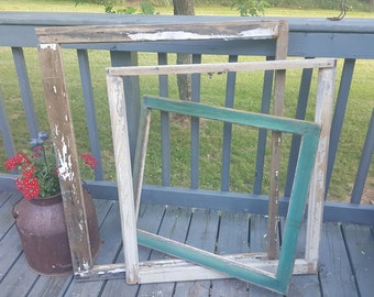 Vintage Wood Frames, Window Frames, Set of 3 Vintage Frames, Photo Booth Props, Rustic Wedding Decor, Photo Props, Antique Picture Frame 167