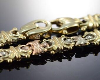 "14K Heavy Fancy Link Necklace 18"" Tri Color Gold"