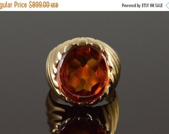 1 Day Sale 14K 13.00 CT Citrine Statement Ring Size 6.5 Yellow Gold