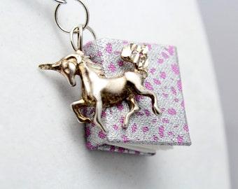 Purple Mini Book and Unicorn Necklace