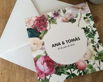 Printable. Floral wedding invitations.