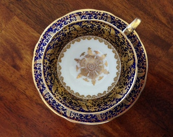 Aynsley Teacup and Saucer, Striking Cobalt and Gold Chintz