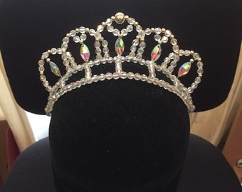 Ballet tiara with ab eye shaped rhinestones - with silver or gold