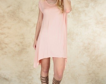 Raw Edge Over-Sized Tunic Dress