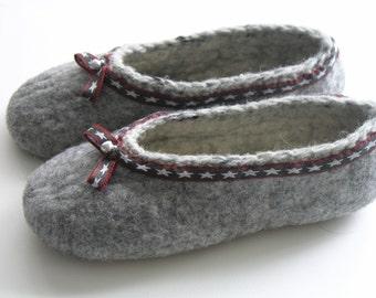 Felt shoes, grey, cozy Gr. 37