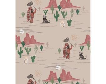 To Catch a Dream-Cotton -Quilting Fabric-Lewis & Irene-Native Boy-Desert Headdress Fireflies Cactus Wolfpup