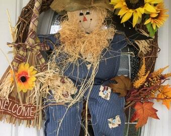Fall Wreath, Scarecrow Wreath, Autumn Wreath, Fall Door Decor, Autumn Door Decor, Thanksgiving Wreath, Door Wreaths