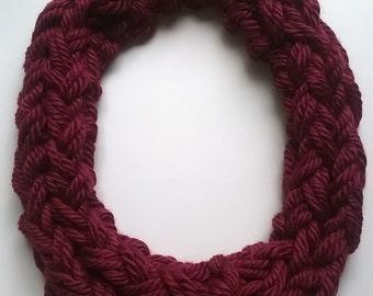 Burgundy infinity scarf, knit acrylic circle scarf