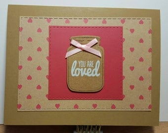 "Mason jar card ""You are loved"""