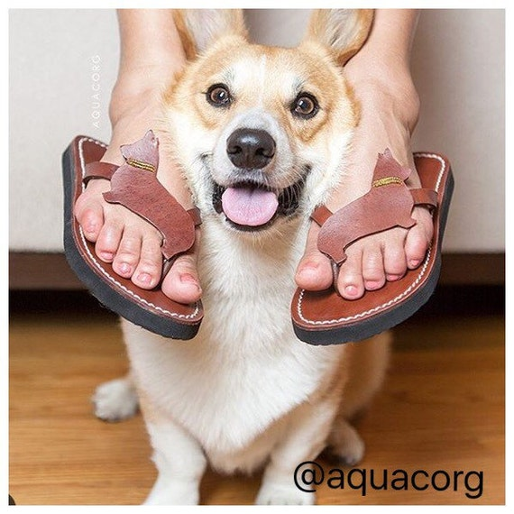 Pembroke Welsh Corgi sandals flip flops shoes handmade leather