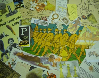 160 Piece Ephemera Pack Yellows Browns Neutrals Most Vintage Eclectic Mix Collage Mixed Media Altered Art