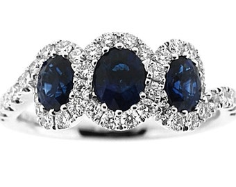 ID: 10718 3 Stone Sapphire Ring in 18K White Gold with Diamonds
