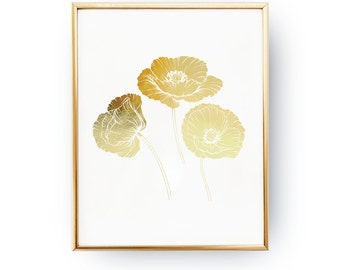 Real Gold Foil Print, Poppies Print, Poppies Wall Art, Flower Print, Flower Art, Wall Decor, Poppies Illustration, Flower Illustration, 8x10