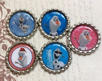 SET of 5 Different Designs - OLAF Bottle Caps For Pendants, Hairbows Hair Bow Centers