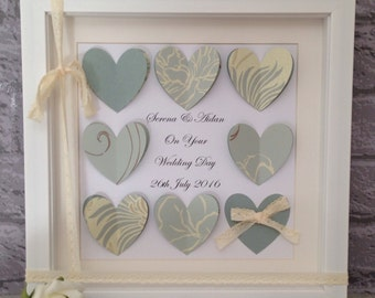 Personalised wedding memento gift ~ 10x10 inch shadow box frame ~ wedding keepsake gift ~ newlyweds ~ gift for couple ~ 3d love hearts