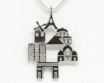 Paris Cityscape - Skyline Statement Pendant - Gift for Her - Birthday Gift - Christmas Gift
