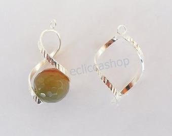 Basic earrings silver spiral (1 pair)