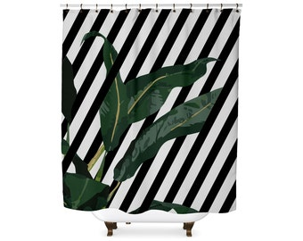 Striped banana leaf shower curtain