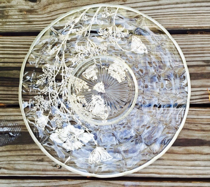 Vintage Crystal Sterling Silver Overlay Glass Serving Dish