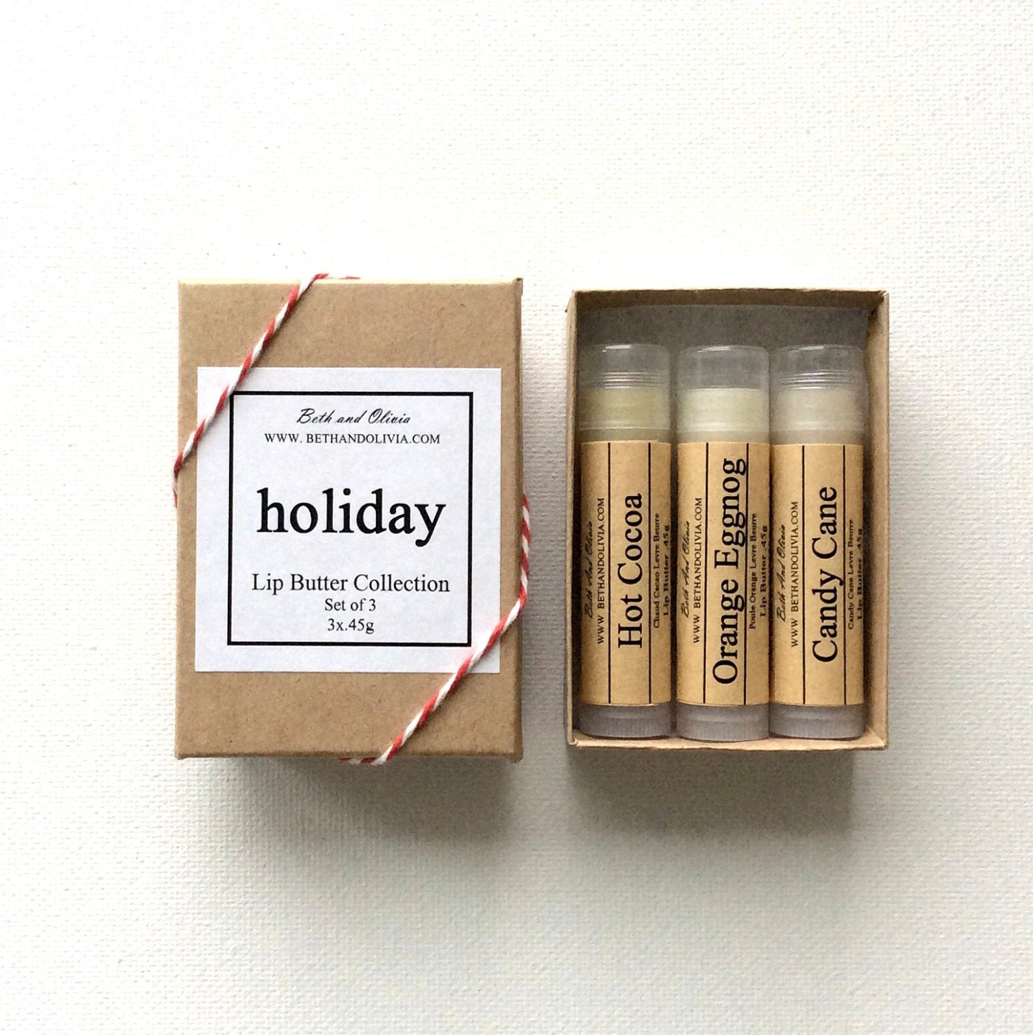Set of 3 Holiday lip butters, lip balms, Orange Eggnog lip balm, hot cocoa lip balm, candy cane lip balm, Christmas lip balms, lip balm set