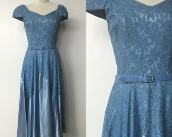 1950's Cinderella's Ball Gown Blue Satin and Lace Dress