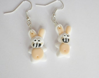Earrings White rabbits crazy idiots fimo layering child chocolate Easter gift idea