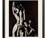 Original artistic female couple, nude lesbians embrace, toned girls in love, hand drawn on map by london artist NLMKART