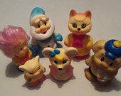 Gift Set 6 for babies! Original Rubber toys USSR 1980s - unused! Christmas dwarf, cat, dog  ice cream, pig, mouse, Doughnut . Best for kids!