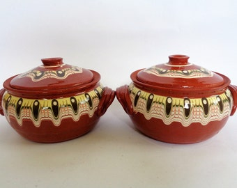 Ceramic cooking pot, Set of 2 Serving Pots, Clay Pots, Cookware, Clay Pots with Lids, Handmade Clay Pots, Cooking Pots, Bulgarian Pottery