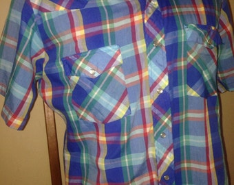 1970's Plaid Pearl Snap Western Shirt
