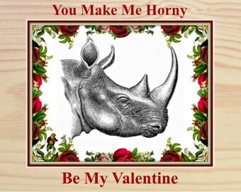 Naughty Valentine, Funny Valentine Card - Horny - Valentine card