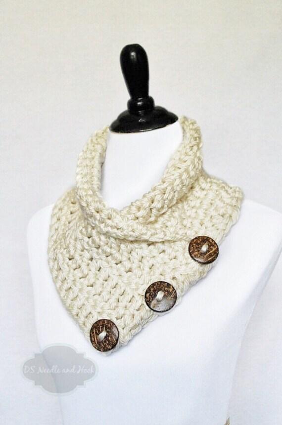 Cream Crochet Scarf, Button Cowl, Crochet Neck Warmer, Button Scarf, Crochet Wrap, Collar Scarf - Neutral, Off White, Winter White