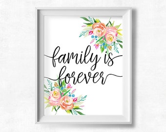 Printable Art, Family is Forever, Floral Home Decor, Inspirational Quote Wall Art, Watercolor Flowers Home Decor Print