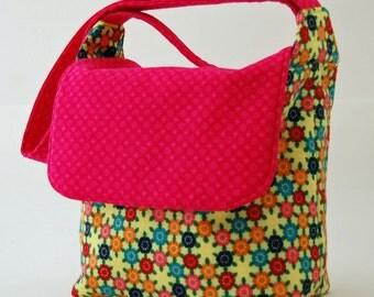 Lime green flower purse messenger shoulder bag medium