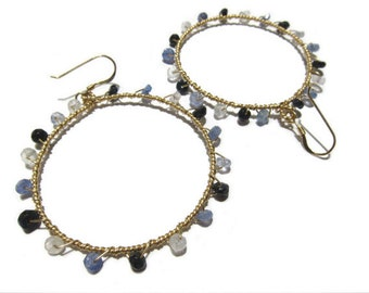 Faceted Varigated Sapphire Gold Filled Hoop Earrings