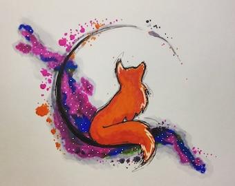 """Wistful Fox - Ink Print 7""""x5"""""""