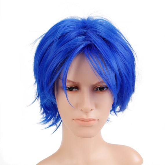 Short Straight Men Cosplay Hair Wig Colored Wig Heat Friendly Party Costume Unisex Wig - 12 Inch (TF2517-Blue)