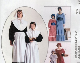 Free Us Ship Sewing Pattern McCall's 2337 Misses Costume Thanksgiving Pilgrim Prairie Colonial Dress Hat Apron Collar New Girls Size 14