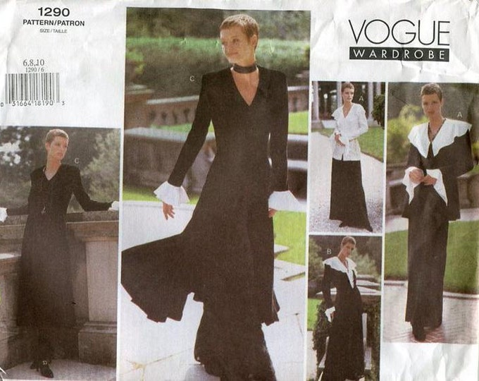 Free Us Ship Sewing Pattern Vogue 1290 Glamour Wardrobe Duster Coat Cape Collar Blouse Wide Leg Pants 2001 Size 6 8 10