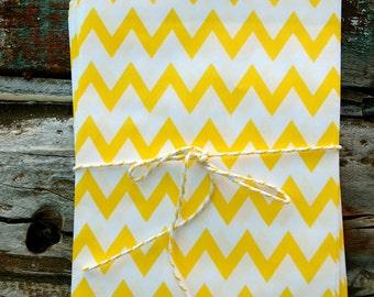 Yellow Chevron Paper Treat Bags - (12 PCS) - TBCV-YE