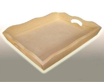 Plain Wood - Large Wooden Serving Tray - Decoupage