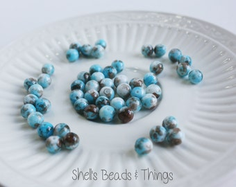 8mm Mottled Beads, Blue Beads, Brown Beads, White Beads, Glass Beads, Jewelry Making Supply - 1 Strand = 60 Beads