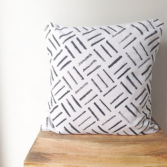 Modern Pillow Covers Etsy : Items similar to Modern Pillow Cover - Canvas Drop Cloth Cross Hatch Basket Modern Pattern on Etsy